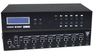 SM-8X8-C64KR-POE-HDBT - HDMI Matrix Switch Over HDBase-T with Power Over Ethernet (Front & Back)