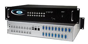 16-port VGA USB KVM + audio switch, front panel push buttons, OSD, rackmount kit