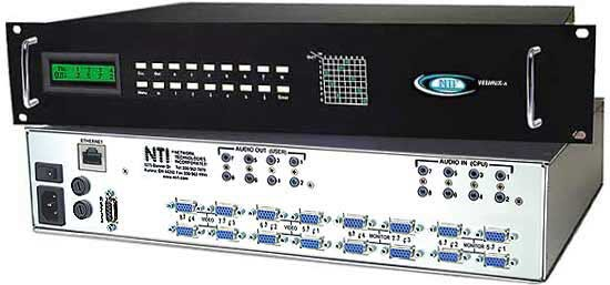 VGA video + audio matrix switch, 8 in 8 out, Ethernet/RS232 control, rackmounted